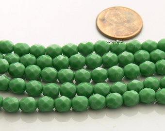 Opaque Green, Czech Beads Fire Polished 6mm 25 Faceted Round GLass