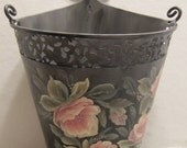 Hand Painted Metal Container by MontanaRosePainter, Soft Grays and Pinks, Interesting Shape