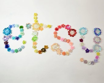 Sequin Flowers Appliqués, Glittery Motif (10pcs)