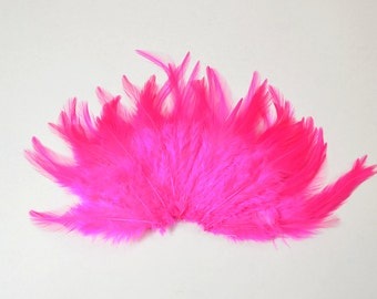Rooster Saddle Feathers - Hot Pink, 2 inch strip (50-60pcs)