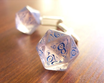 D20 dice cuff links gamers wedding accessory business wear geek rpg blue elf runes elvish see through transparent elven inscriptions men