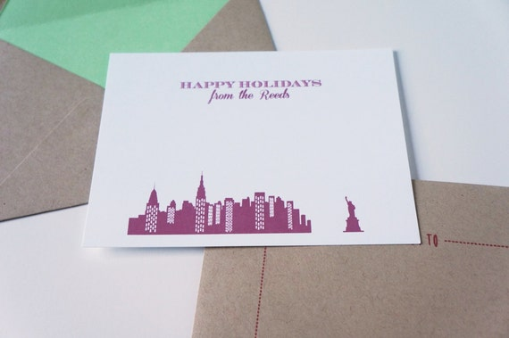 Personalized Christmas Holiday Card Set Stationery for NYC