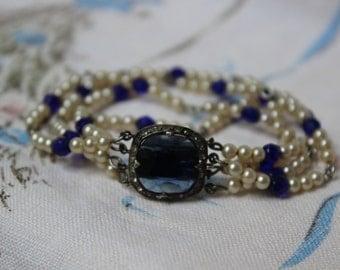 Bracelet Pearls Sterling Rhinestones Blue Glass VINTAGE by Plantdreaming