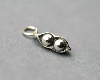 Two Peas in a Pod Sterling Silver Charm - A La Carte Charm - Add on Sterling Silver Charm