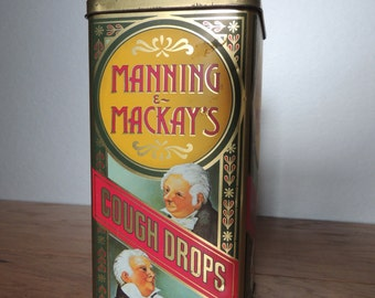 Manning and Mackay's Cough Drops Collectible Tin. Colorful Vintage Advertising Cough Drops Tin Box. Case Manufacturing Tin.