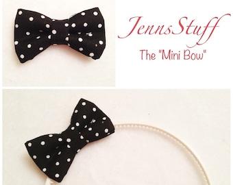 Black with White Polka Dots - Mini Hair Bow