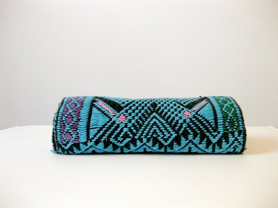 70s Turquoise Tribal Woven Table Runner