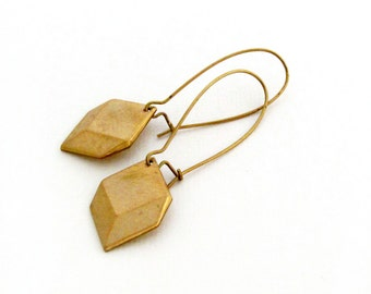 Gold Geometric Earrings Modern Drop Earrings Pyramid Dangle Earrings Long Earrings Gift for Her