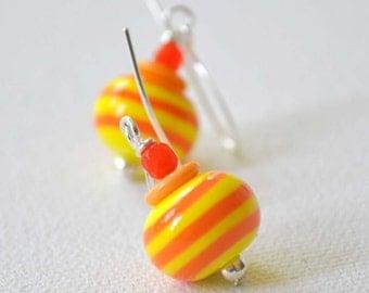 Lampwork Glass Earrings, Yellow Orange Earrings, Striped Earrings,
