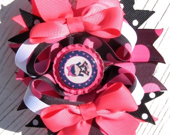 Just A Little Emo Boutique Hair Bow- Hot Pink, Black, & White- Big Bow- Goth- Ready To Ship