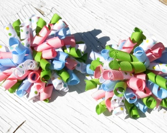 Girl Spring Pastel Corker Bows- Set of 2- Baby Bows- Toddler Bows- Pigtail Bows