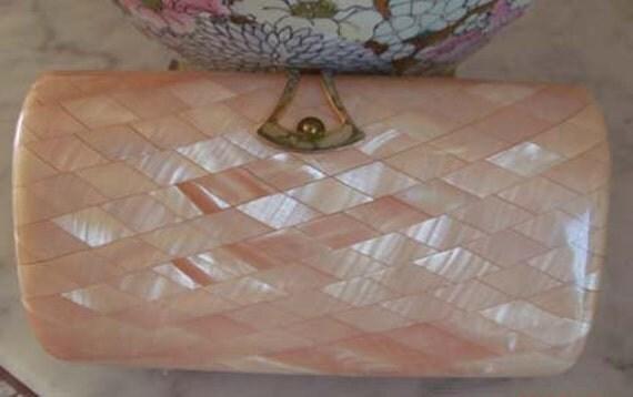 SALE Peach Pearlize Lucite Purse Clutch Prom SAKS Fifth Ave Ferragamo Style Italian Designer Wedding Box Clutch