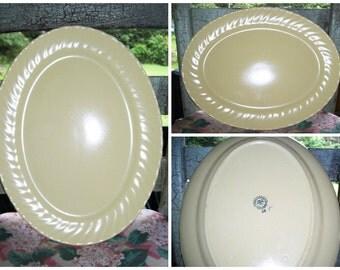 Vintage Franciscan Coronado Oval Serving Platter / 1940s Large Oval Serving Platter / Pale Yellow Serveware / Matte Yellow Coronado