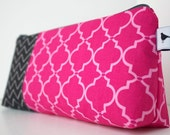 Personalized Cosmetic Makeup Bag - Pink & Black - Made to Order
