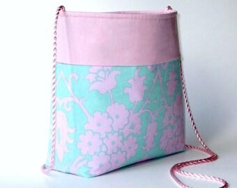 25% OFF...pink and teal patterned shoulder cross body purse...2 pockets...detachable magnetic key hook...medium size lightweight cotton bag