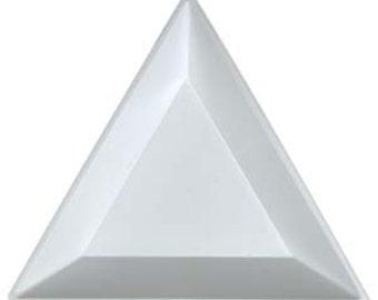 Tri-tray white plastic triangular beading trays, set of 3