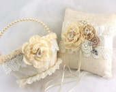 Flower Girl Basket, Ring Bearer Pillow, Wedding, Ivory, Champagne, Tan, Pearls, Crystals, Round, Lace, Linen, Rustic, Vintage Style