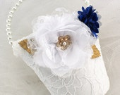 Flower Girl Basket, White, Royal Blue, Gold, Elegant Wedding, Bucket, Pearl Handle, Lace, Crystals, Pearls, Vintage Style, Gatsby