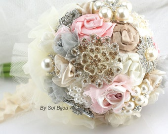 Brooch Bouquet, Pink, Grey, Tan, Champagne, Ivory, Maid of Honor, Bridesmaids, Elegant, Pearls, Crystals, Vintage Wedding, Lace Bouquet