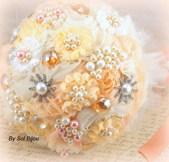 Brooch Bouquet, Ivory, Cream, Peach, Tangerine, Blush, Orange, Pearl Bouquet, Jeweled Bouquet, Crystals, Elegant, Vintage Style, Gatsby