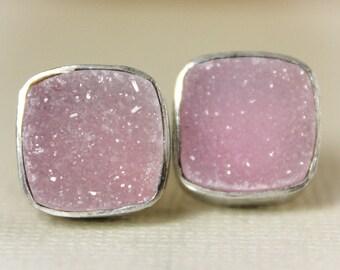 Rosy Pink Druzy Stud Earrings -  Silver Filled - Cushion Cut