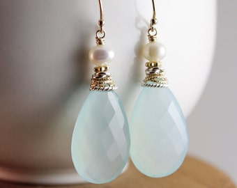 Aqua Chalcedony Earrings - Aqua Mint - Freshwater Pearls, Bridal Earrings
