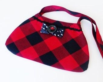 Purse -  Buffalo Check - Red Black Plaid - Wool - Shoulder Bag - Hand Made - Celtic - Romantic - Curvy - Repurposed - Preppy - UNIQUE