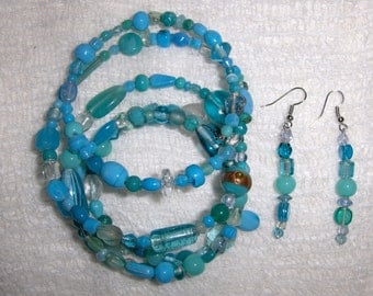 Aquamarine Glass and Ceramic Bead Gypsy Bracelet and Earring Set
