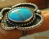 Vintage Silver Size 7 Native American Old Pawn Butterfly Design Ring, with Native Mined Light Blue Turquoise