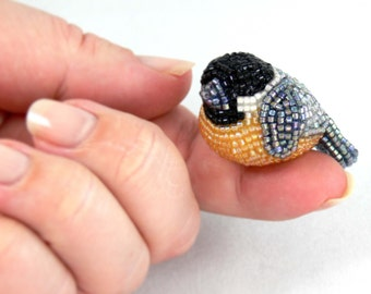 Chickadee Bird Figurine Miniature Beaded Animal Totem *READY TO SHIP