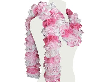 Handmade Pink and White Ruffle Scarf Womens Fashion Neck Warmer Ladies Trendy Scarf Christmas Gift Ready To ship by CraftCrazy4U on Etsy