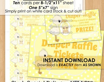 Special Delivery STORK Baby Shower Diaper Raffle Tickets yellow girl boy neutral INSTANT DOWNLOAD