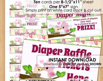 Girl Mommy Pink Baby Bird Printable Diaper Raffle Tickets INSTANT DOWNLOAD