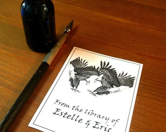 Bookplates Eagles Love Wedding Gift 25 Personalized Booklabels Ex Libris