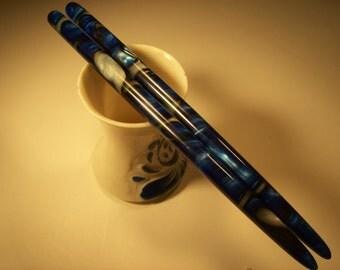 "Bright Blue Sea  acrylic Hair sticks choose 5"" 6"" 7"""