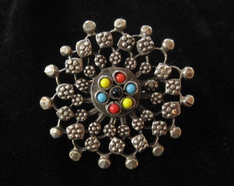 Large Mandala Ring, Yellow, Turquoise, Red Glass Stones, India