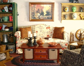 Miniature Sofa in Autumn Fabric for the Dollhouse or Room Box