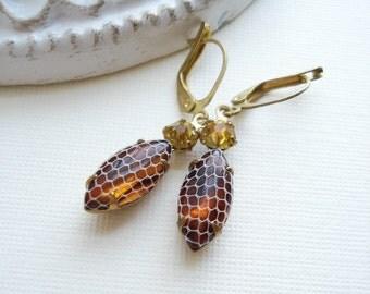 Vintage Netted Topaz Earrings Topaz Drop Earrings Brown Yellow Earrings Dangle Vintage Earrings