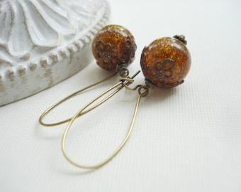 Brown Earrings, Root Beer Brown With Gold Sparkles Earrings, Amber Dangle Earrings In Antiqued Brass, Vintage Style Jewelry
