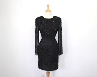 Vintage 80s Dress Black Beaded Sequin Silk Wiggle Dress Open back Evening Cocktail Dress S