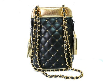 Vintage Quilted Bag Black Vinyl Leather Gold-tone Chain Shoulder Bag