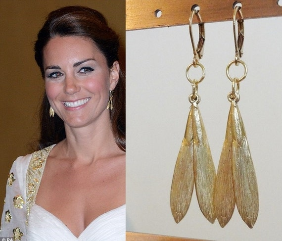kate middleton inspired leaf earrings by tudorshoppe