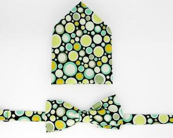Men's Bow-Tie and  MatchingPocket Square Set  -  Disco balls