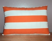 SALE 18x12 Orange Indoor Outdoor Stripe Decorative Lumbar Pillow Cover - WAS 20.00 NOW 10.00