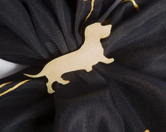 Unique Hand Made Brass Scarf Ring for Dog Lovers with Wire Daxie Wire Haired Dachshund Silhouette Golden Color