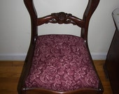 Victorian Queen Ann style parlor Restored  mahogany chair Carved Roses  new  upholstery  25% off  Sale Was 150 now only  99