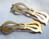 2 Vintage 1960's Brass Bow Hair Barrettes