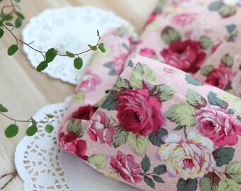 Lovely Rose Garden on Pink cotton, U7148