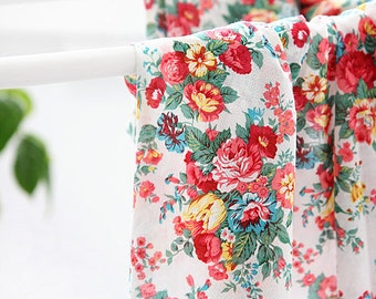 Lovely Rose Garden on White Gauze WIDE 144cm, U7188
