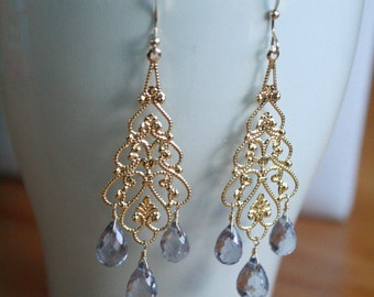 Beautiful Light Purple Tanzanite Quartz and Gold Filigree Chandelier Earrings.  . Wedding, bridal, gemstone earrings